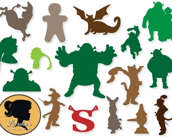 Shrek Silhouette SVG, Shrek , Fiona Svg, Puss in boots , Clip Art, Digital Download for Silhouette Cameo or Cricut, vector, clipart, svg