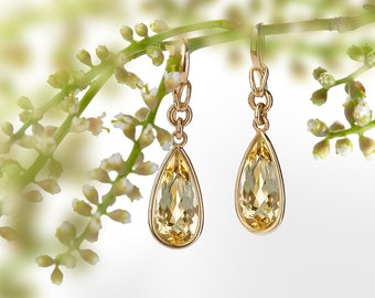 Earrings in yellow gold 750 yellow Beryl-drops in spectacle frame