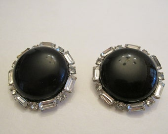 Gorgeous pair of vintage marked Charel big button design rhinestone earrings