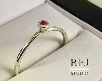 Hammered Lab Ruby Sterling Ring, Pink Cubic Zirconia 2 mm Silver Medium Texture Ring Simulate Pink Ruby Ring, 925 Silver Tiny Textured Ring