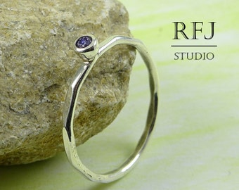 Faceted Lab Amethyst Silver Ring, Purple CZ 2 mm Large Texture Stacking Sterling Ring Simulate Amethyst Hammered Ring Purple CZ 925 Silver