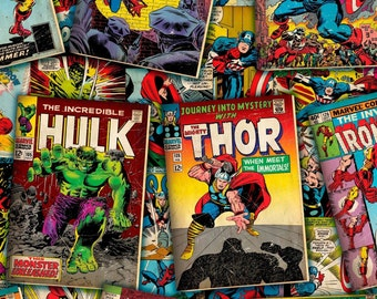 "Marvel Fabric: Marvel Comic Book Covers Thor, Hulk, Captain America, Spider-man, ironman  100% cotton fabric by the yard 36""x44"" (SC96)"