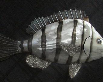 Sheepshead Fish/Metal Fish Sculpture/Metal Fish/Hanging Wall Art/Metal Fish Art