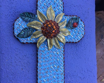 Glass and Pottery Mosaic Cross