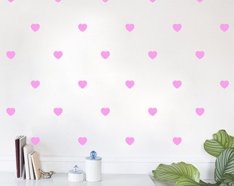 Hearts Removable Vinyl Wall Decal Sticker Sheet of 50 — Multiple Sizes!