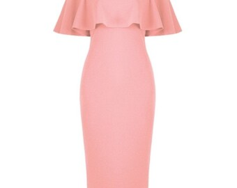 DRESS: pink off the shoulder midi dress