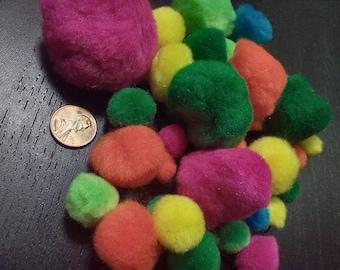 Mixed multi-color neon pom poms (33 quantity)