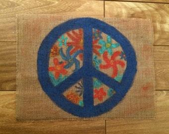 Peace and flowers burlap decor