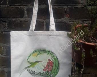 "Tote Bag ''Hibiscus Flower Scene""-Shopping Bag"