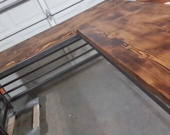 Custom made welded steel frame and aged wooden top desk