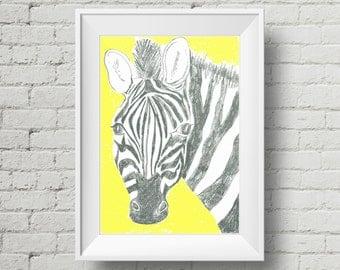 Modern Zebra Print, Yellow A4