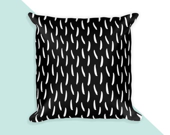 Black and white brush strokes 02 - 18x18 throw pillow cover with insert
