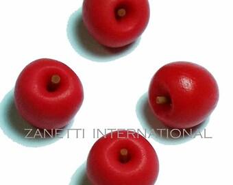 Set of 4 Dollhouse Miniature Red Apples - Mini Food / Fruit