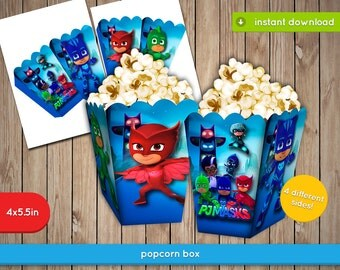 Pj Masks Popcorn Box - Printable box, fries, popcorn, decoration favors - INSTANT PDF DOWNLOAD