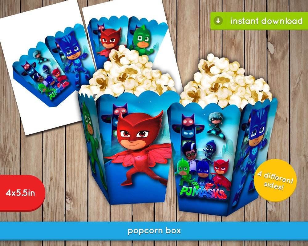Pj masks popcorn box printable box fries popcorn for Art decoration pdf