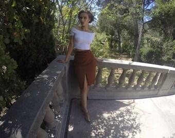 50's inspired HIGH Waisted Wool Skirt