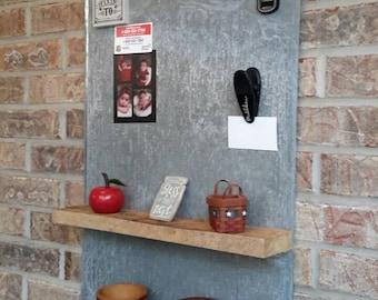 Galvanized wall hanging with 2 rustic barnwood shelves