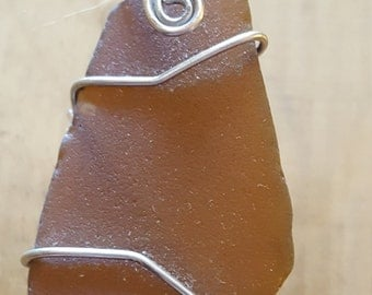 Beautiful Brown Sea Glass Pendant