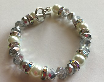 Silver Pearl Crystals Stretch Beaded Stacking Bracelet