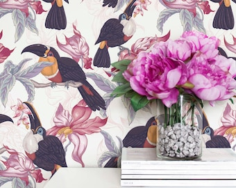 Tropical Print Peel and Stick Wallpaper, Tropical Leaf Regular Wallpaper, Leaf and Tropic Bird Toucan Removable Wall Mural