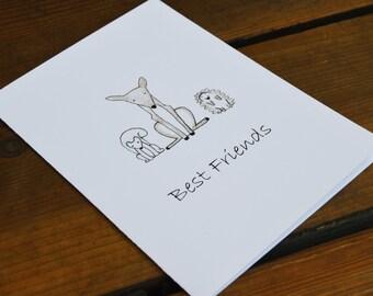 "Best Friends Blank Greeting Card 5"" x 7"""