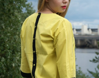 Lime yellow cotton blouse with sleeves Casual women's blouse with buttons Unique bright summer blouse Handmade women's clothing