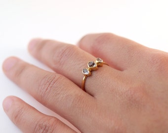 Herkimer Diamond Ring Gold | Dainty Rings | Ring For Girlfriend | Delicate Rings | Stacking Rings | Gold Engagement Ring | Ring With Stones