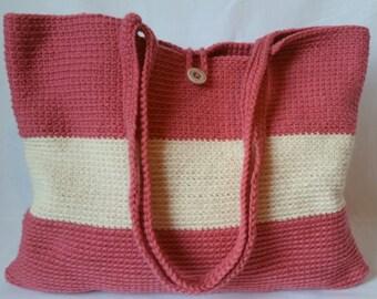 Creamy Pink Crochet Tote Bag