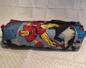 Boxy zipper pouch, marvel superhero pencil case, make-up bag, quilted zipper pouch