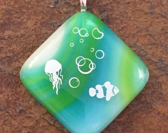Fused glass blue and green seascape pendant