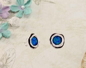 Blue Opalite Silver Stud Earrings