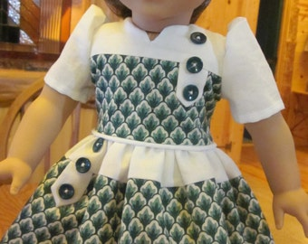 """18"""" Doll Clothes 1940's Style Dress with Green Print and Crisp White Contrast Vintage Buttons Handmade to fit American Girl Dolls"""