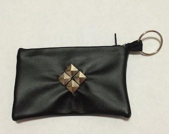 Black Pleather Studded Card Case