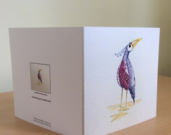 Blank greetings card with image of a bird.