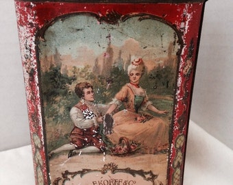 1860's Rare F. Korff & Co. Chocolate powder tin with lithograph by WED J. Bekkers and Zoon Holland