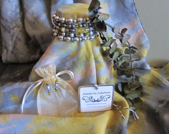 PERFECT GREY SKY - 7 pc. Scarf/Bracelet/Earring Set w/ Free Gift Box