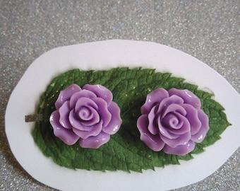 Big Purple Flower Earrings