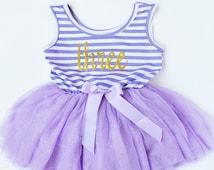 Three Year Outfit.  Third Birthday.  Dress  Smash Photo  Purple Stripes  Glitter   Toddler Girl