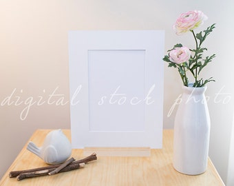 Digital Styled Stock Photo 001 | White Mount with acrylic stand | Bird | Pink Peonies