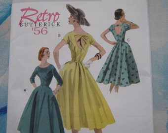 Butterick 5605 1956 Reproduction Dress Sewing Pattern 16-22