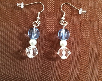 Unique light blue and clear crystal with pearl earrings