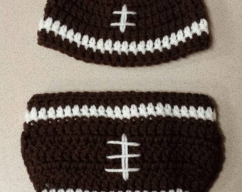 Crochet football beanie and diaper cover