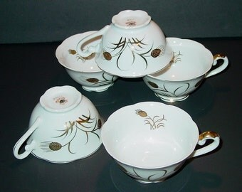 Vintage Lefton China Hand Painted Golden Wheat Snack Cups (5)