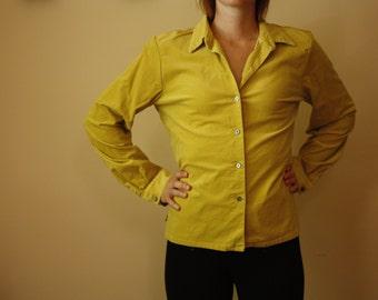 Corduroy button down in mustard yellow