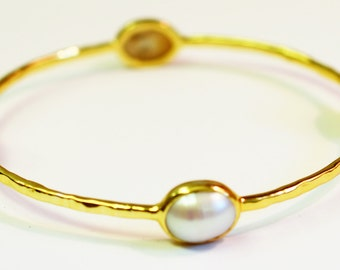 Gold  Pearl Cabochon Stackable Bangle
