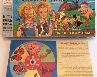1957 Vintage the Bobbsey Twins on the Farm Game by Milton Bradley No 4015