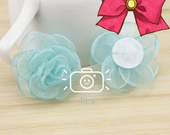 Rose tulle-organdy,camellia diy hair sccessories,threedimentional clips ornament 5cm width