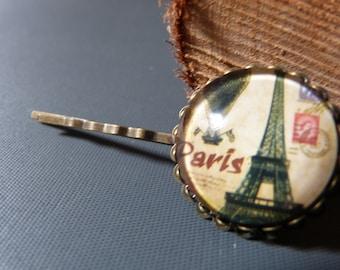 Barrette cabochon Paris vintage