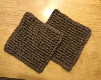 Brown Wash /Dish cloth crocheted from 100% cotton