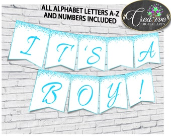 Banner, Baby Shower Banner, Confetti Baby Shower Banner, Baby Shower Confetti Banner Aqua banner a z, decor all letters, wall banner - cb001